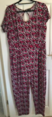 Red, black and white floral trouser jumpsuit, size 16