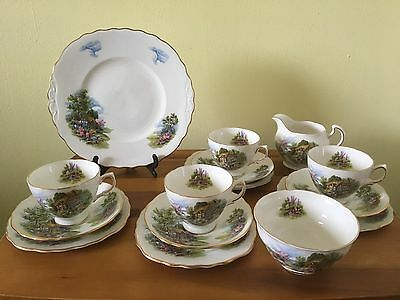 royal vale tea set. 15 Piece. Cottage Garden.