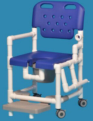 """Elite Shower Chair Commode with Footrest 20"""" Clearance Blue ELT820"""