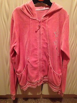 Girls Pink Velour Tracksuit Top From Matalan Age 10-11 Years