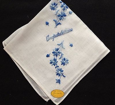 Made in Switzerland Lovely True Vintage Embroidery Floral Motif Handkerchief