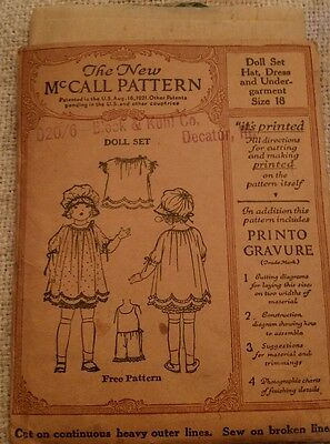 Antique McCall's Doll set pattern 1921