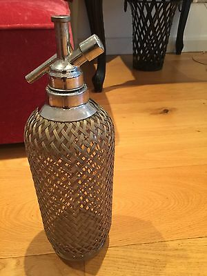 Vintage Soda Siphon Bottle with wire covering
