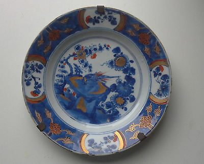 original late 17e century Kangxi export plate blue white red gold decorated