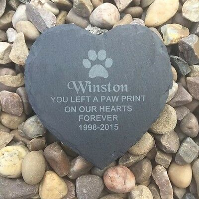 Engraved slate memorial heart, pet loss dog cat paw print grave marker