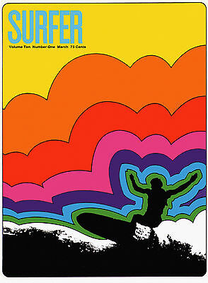 "Surfer Mag Cover, ART PRINT, Retro Surfing, 18""x13""poster, VINTAGE SURF SPORTS"