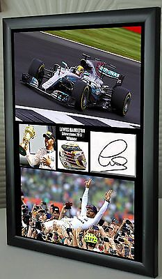 Lewis Hamilton 2016 Silverstone F1 GP Winner Mercedes Framed Canvas Print Signed