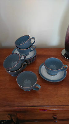 Set of 6 DENBY STORM Cups & Saucers - Crawley - Excellent condition