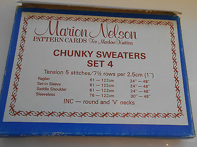 Marion Nelson pattern  cards for machine knitting Chunky Sweaters set 4