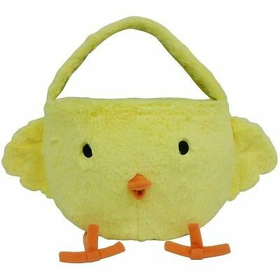 Decorative Lined Yellow Plush Chick Easter Basket with Handle