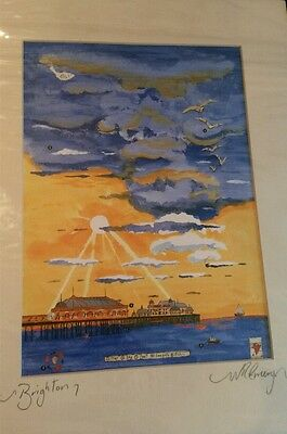 """""""Brighton""""  signed mounted print  by artist Nigel Emery with the beach & pier"""