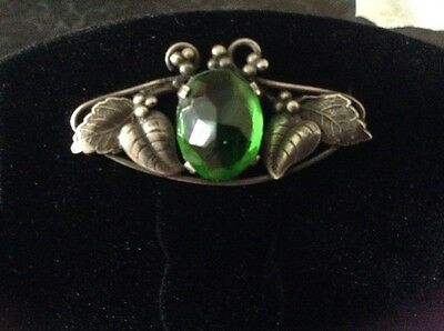 Arts & Crafts Style Silver / Green Stoned Brooch