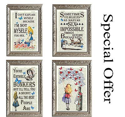 Alice in Wonderland Bonkers 4 Vintage Art Prints Page Lewis Carrol gift Offer