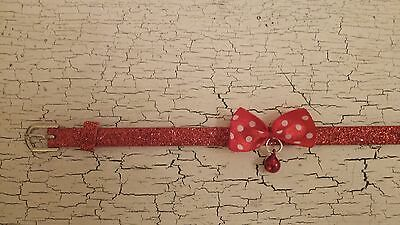 hand crafted red glitter kitten collar with a spotty bow