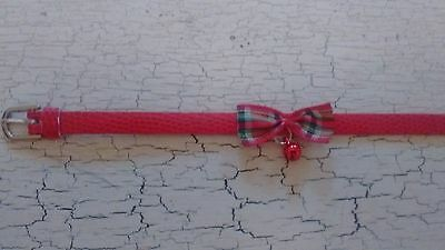 hand crafted red kitten collar with tartan bow