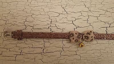 hand crafted brown glitter kitten collar with flower bow