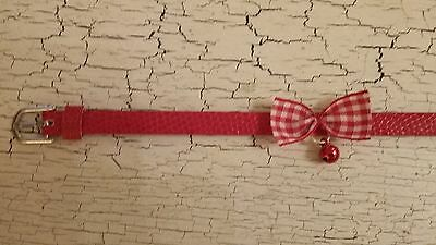hand crafted red kitten collar with check bow