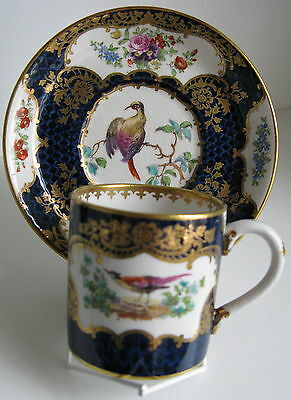 (b) Antique Booths Scale Blue Silicon China Exotic Birds Coffee Can & Saucer