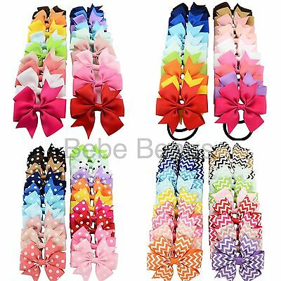 UK Baby Girl Ribbon Bow Clip Elastic Spotty Stripes Hair Accessories Christmas
