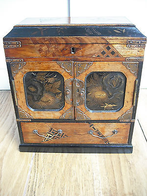 Victorian Japanese Mini Tansu Lacquerware Jewellery Cabinet [box/not/chinese]