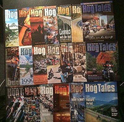 Lot Of 20 Harley Davidson HOG Tales Magazines 1997 Through 2001 Hogtales
