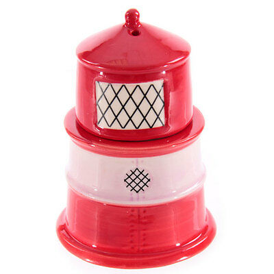 Red and White Lighthouse Egg Cup with Salt Cellar BNIB