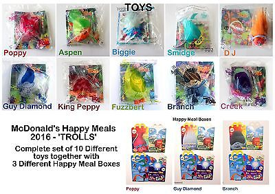McDonalds Happy Meal Toys 'Trolls' 2016 Full Set of 10 Toys + 3 different Boxes