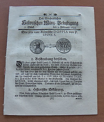Old German Weekly Coin Newspaper From 03. Februar 1734 - 8 Pages - Original -