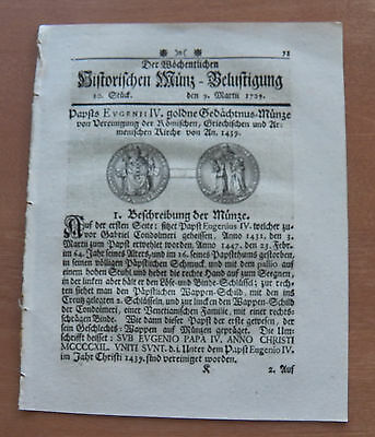 Old German Weekly Coin Newspaper From 09. March 1729 - 8 Pages - Original -