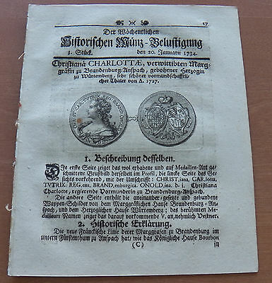 Old German Weekly Coin Newspaper From 20. January 1734 - 8 Pages - Original -