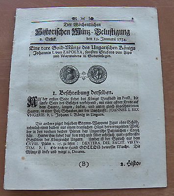 Old German Weekly Coin Newspaper From 13. January 1734 - 8 Pages - Original -
