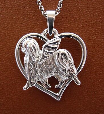 Japanese Chin Angel On A Heart Pendant