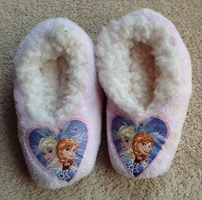 Little Girl's Soft Cosy Furry Frozen Slippers Age 2