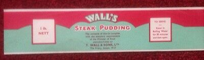 WALL'S STEAK PUDDING ORIGINAL UNUSED CAN LABEL 1930s