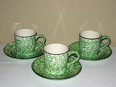 Stangl Green Spongeware 3 Cups 3 Saucers Handpainted Town & Country