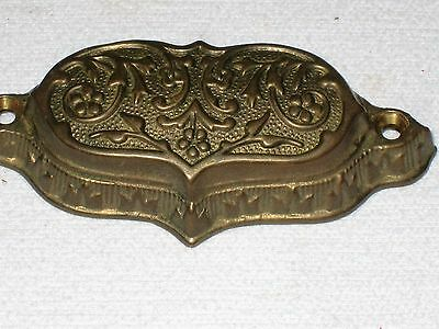 "Drawer Pull Brass Bin Cup Ornate Vintage 3"" Screw Hole Distance FREE SHIP"