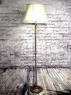 Antique Vintage Floor Lamp 2 Light Brass circa 1940's with Lamp Shade Restored