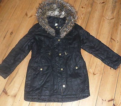 Size Age 11 to 12 RIVER ISLAND Black Fur Parka Coat