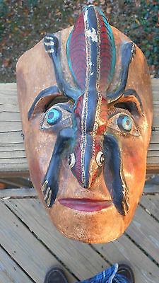 Cool Antique Mexican ( Or South American ) Ceremonial Carved & Painted Mask
