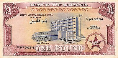Ghana 1 Pound 1.7.1958  P 2a circulated Banknote , G. 1C