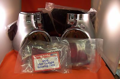 1957 Chevy Taillight Housings 965 USA Complete Chrome Belair Sedan Hardtop Wagon