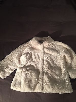 Girls Cream Fluffy Coat. Next Age 2-3