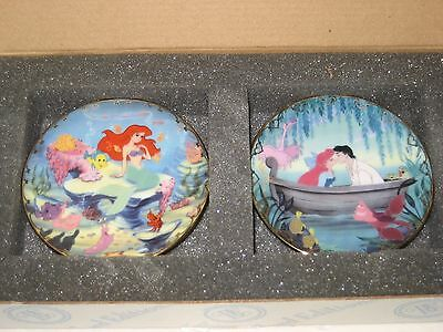 THE LITTLE MERMAID MINI PLATES X2 set bradford exchange AS NEW IN BOX