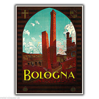 BOLOGNA ITALY Vintage Retro Travel Advert METAL WALL SIGN PLAQUE poster print