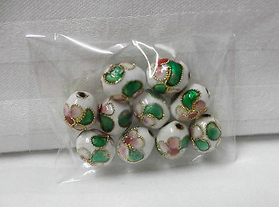 20 oval Cloisonné Beads With Pink, Green, White, Gold Trim 10 x 8 mm