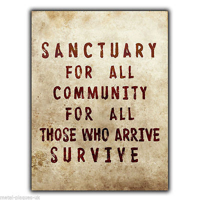 Sanctuary for all Community For All TERMINUS Walking Dead METAL SIGN WALL PLAQUE