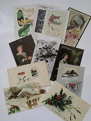 Rare Vintage Christmas Postcards x 11 - Used with stamps - 1907 to 1923