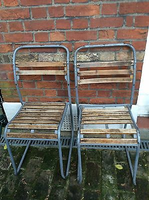 Vintage  Metal And Slatted Wood cafe chairs
