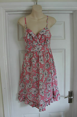 New M&S Women Pink Floral Dress Size 8 Ladies Cotton Summer Frock
