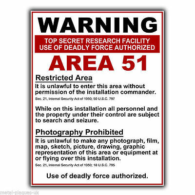 AREA 51 WARNING Sign METAL WALL SIGN PLAQUE funny humorous poster print